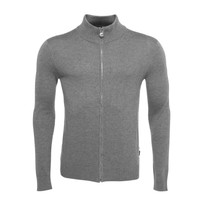 Full-Zip Knitted Cardigan Grey