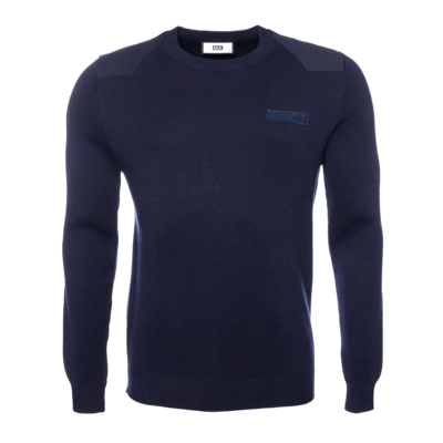 Knitted Hexagon Crew Neck Sweater Marineblauw