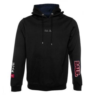 BALR. embroidered straight hoodie Black