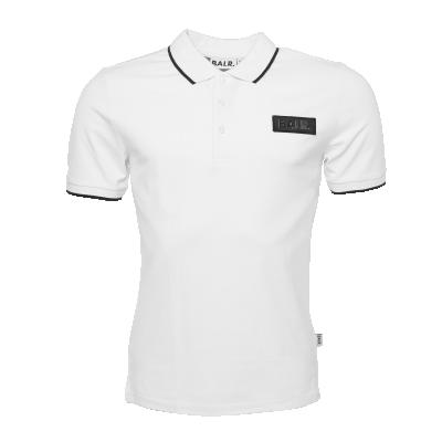 Brand Metal Badge Polo Shirt White