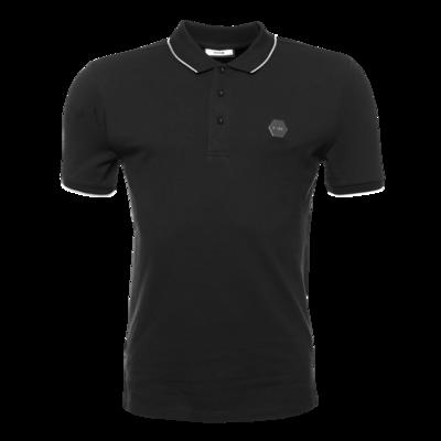 Hexagon Badge Polo Shirt Zwart