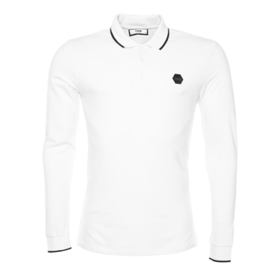 Hexagon Badge Polohemd Long Sleeve Weiß