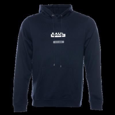 Contrasting Logo Straight Hoodie Navy