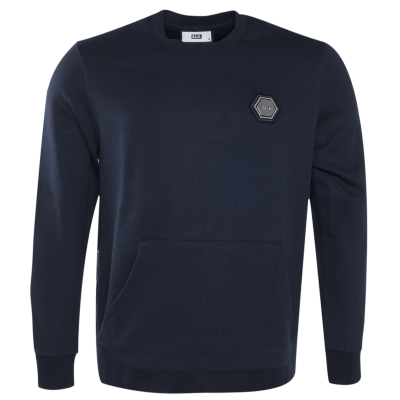 Q-Series Metal Hexagon Badge Crew Neck Sweater Marineblauw