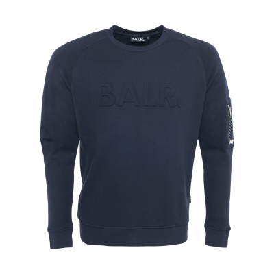 Embossed Cord Crew Neck Navy