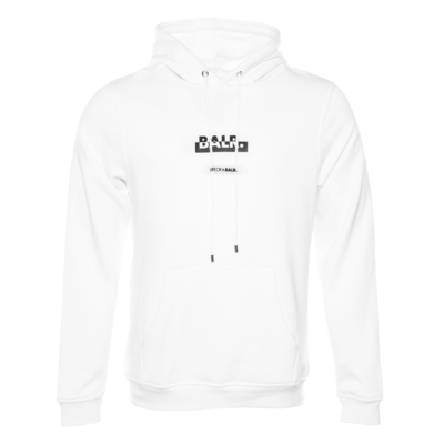 Contrasting Logo Straight Hoodie White
