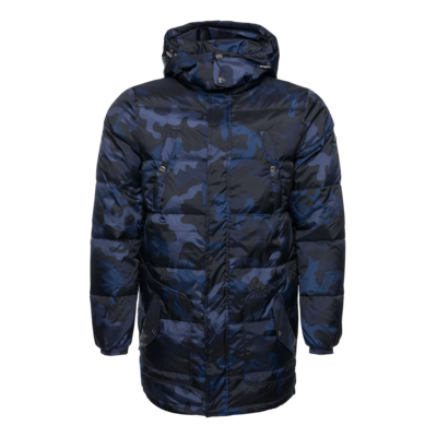 Gun Metal Badge Camo Down Coat Marineblauw