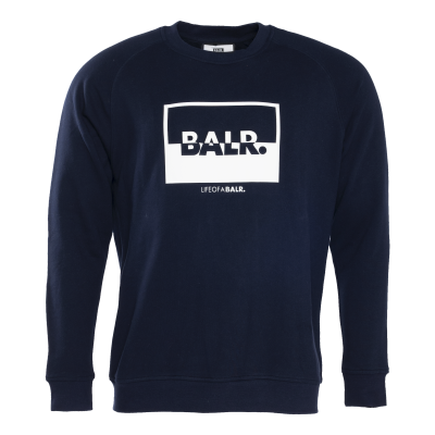 Contrasting Logo Crew Neck Sweater Marineblauw