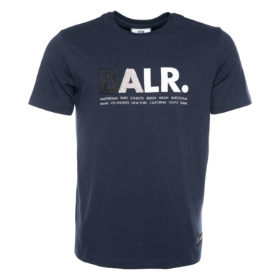 BALR. Multi Logo Straight T-Shirt Navy