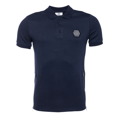 Q-Series Metal Hexagon Polo Shirt Marineblauw