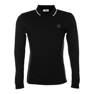 Hexagon Badge Polo Shirt Long Sleeve Black