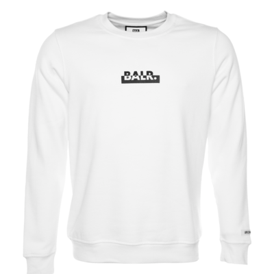 Contrasting Logo Straight Crew Neck Sweater White