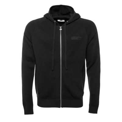 Knitted Hexagon Zipped Hoodie Black
