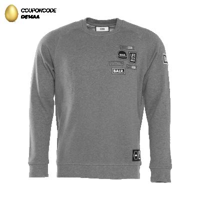 BALR. Badge Crew Neck Sweater Grey