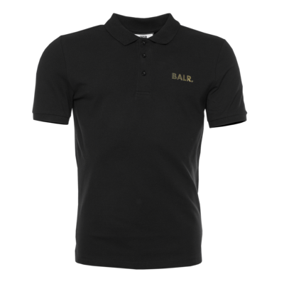 Brand Gold Metal Logo Polo Shirt Zwart