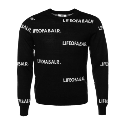 All-Over LIFEOFABALR. Crew Neck Sweater Zwart