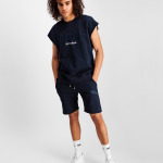 Embroidered LOAB Sleeveless Crew Neck Sweater Navy