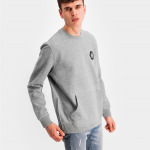 Q-Series Metal Hexagon Badge Crew Neck Sweater Grey