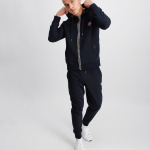 Q-Series Metal Hexagon Badge Zipped Hoodie Navy