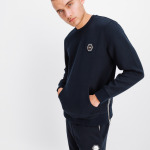 Q-Series Metal Hexagon Badge Crew Neck Sweater Navy
