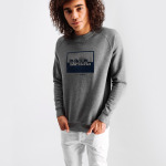 Contrasting Logo Crew Neck Sweater Grey