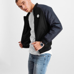 Metal Hexagon Badge Bomber Jacket Black