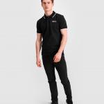 Brand Metal Logo Polo Shirt Black