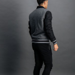 Striped Baseball Jacket Grijs